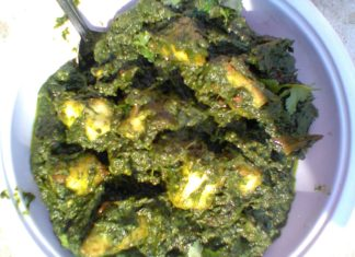 healthy tasty recipe palak paneer (spinach curry with indian cheese ),