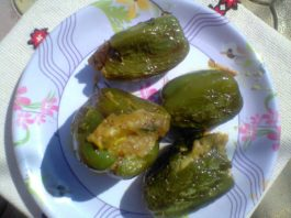 stuffed capsicum, bharwa shimla mirch healthy indian recipe,