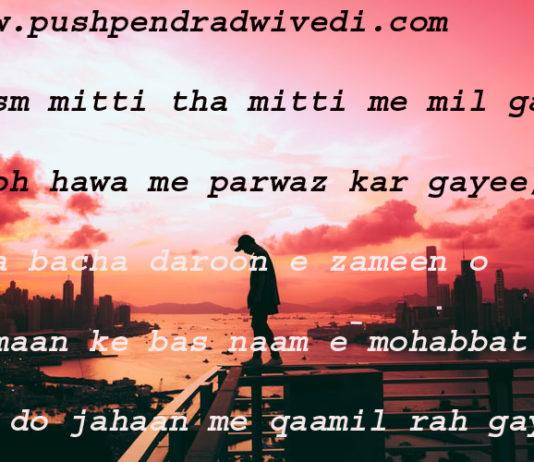 good night quotes in hindi जिस्म मिटटी था मिटटी में मिल गया रूह हवा में परवाज़ कर गयी ,